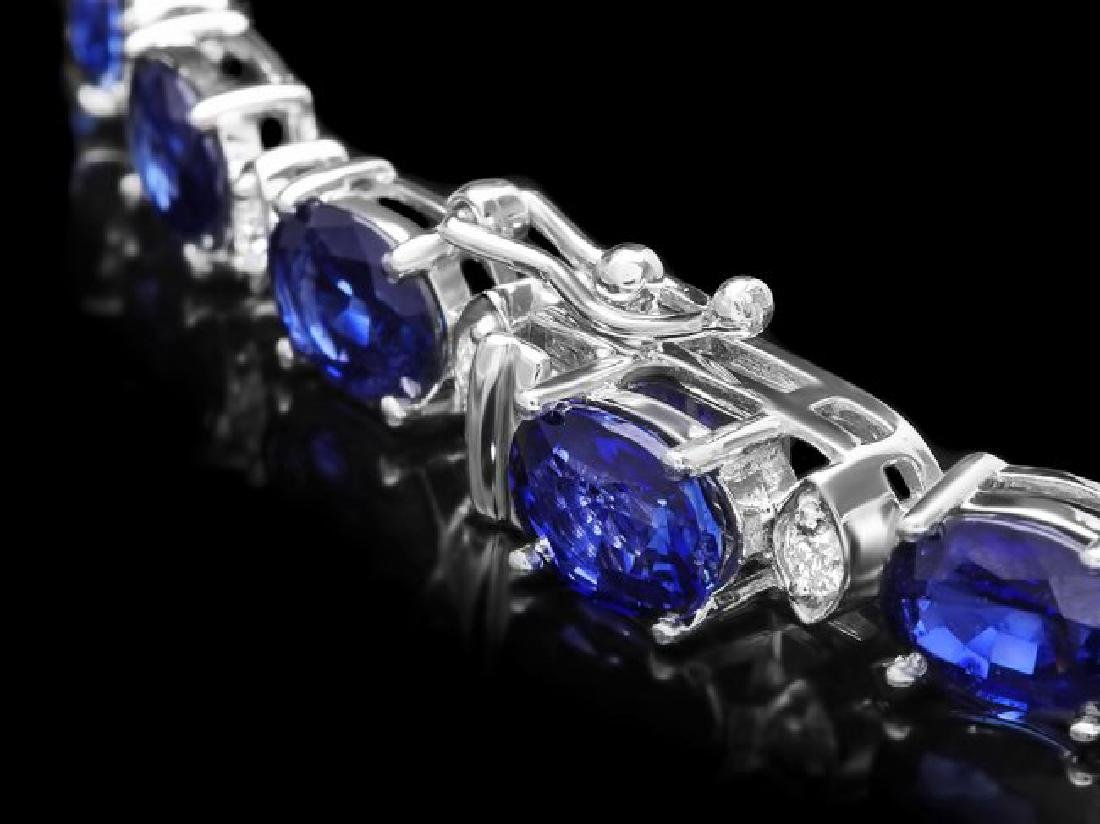 18k Gold 40.00ct Sapphire 1.90ct Diamond Necklace - 3