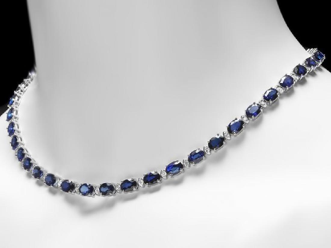 18k Gold 40.00ct Sapphire 1.90ct Diamond Necklace - 4