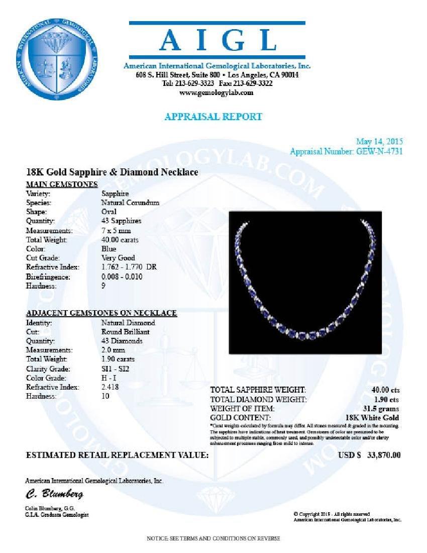 18k Gold 40.00ct Sapphire 1.90ct Diamond Necklace - 6