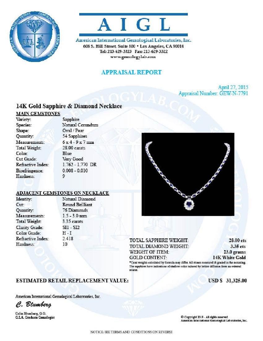 14k Gold 28ct Sapphire 3.35ct Diamond Necklace - 7
