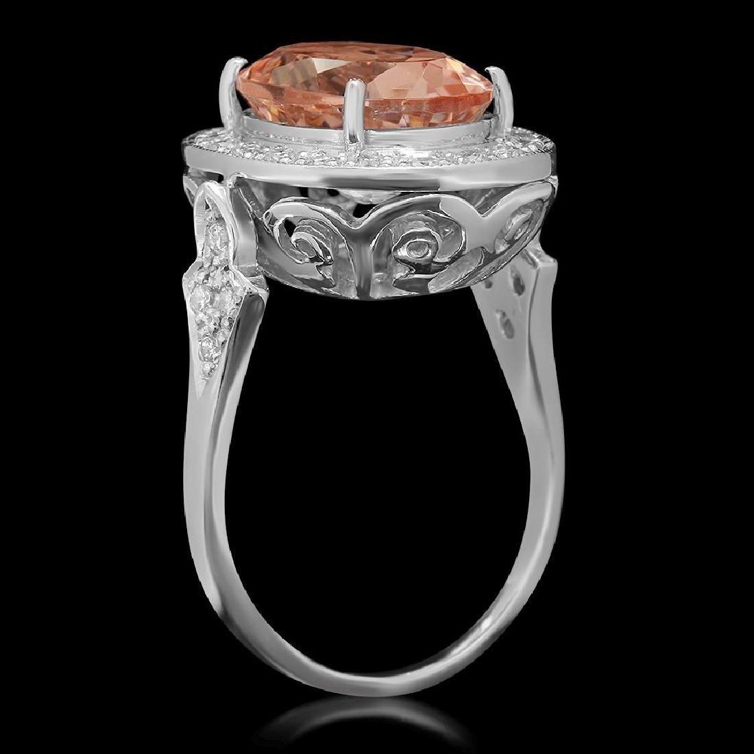 14K Gold 5.97ct Morganite 0.52ct Diamond Ring - 2