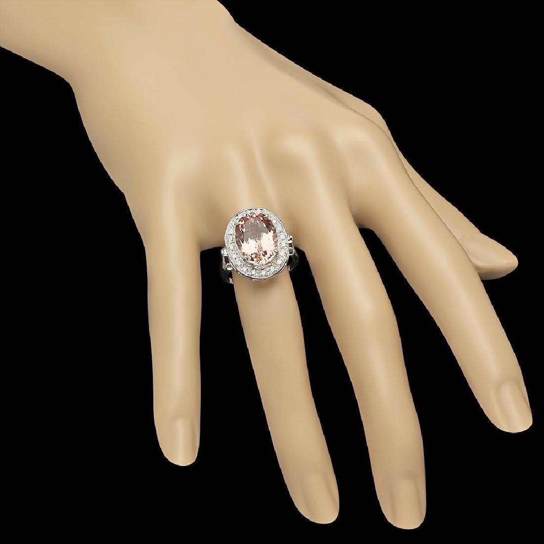 14K Gold 5.97ct Morganite 0.52ct Diamond Ring - 3