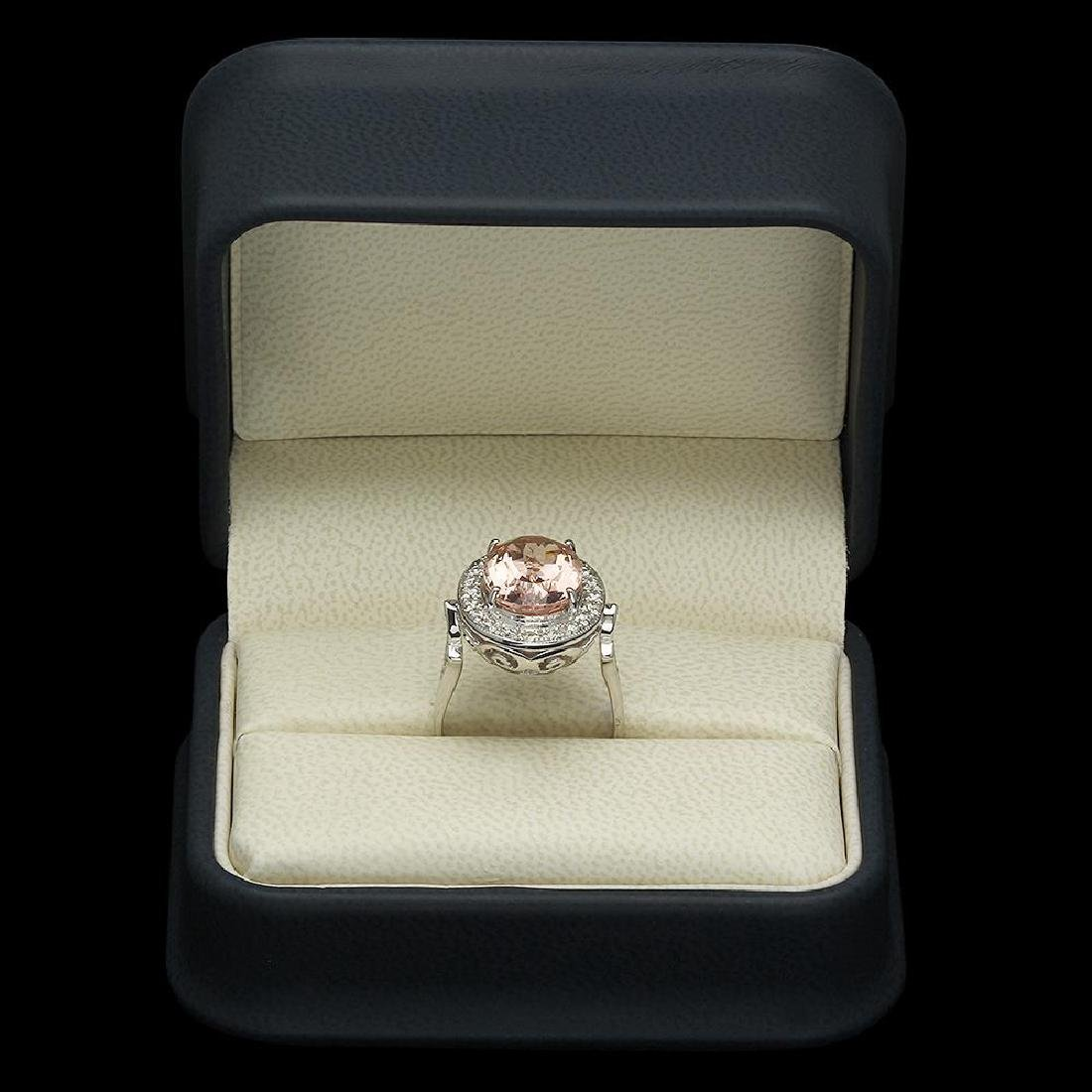 14K Gold 5.97ct Morganite 0.52ct Diamond Ring - 4
