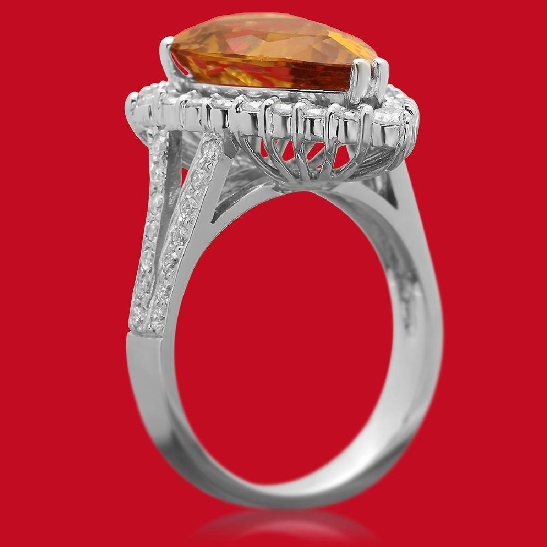 14K Gold 5.46ct Yellow Beryl 1.10ct Diamond Ring - 2