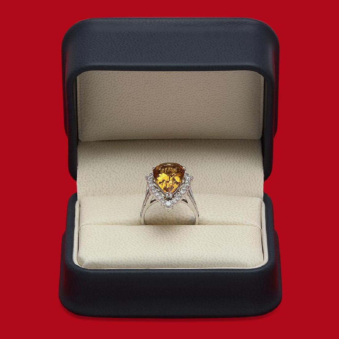 14K Gold 5.46ct Yellow Beryl 1.10ct Diamond Ring - 4