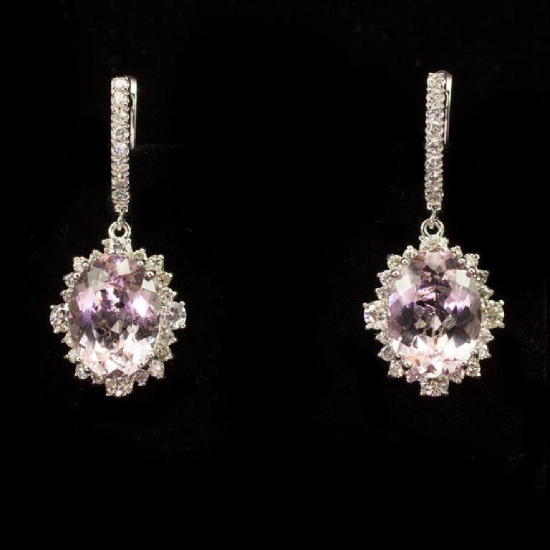 14K Gold 8.95ct Morganite 2.65ct Diamond Earrings