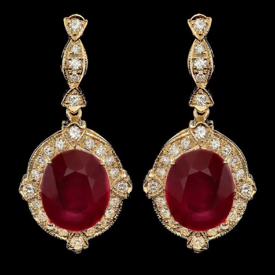 14k Gold 22.50ct Ruby 1.70ct Diamond Earrings