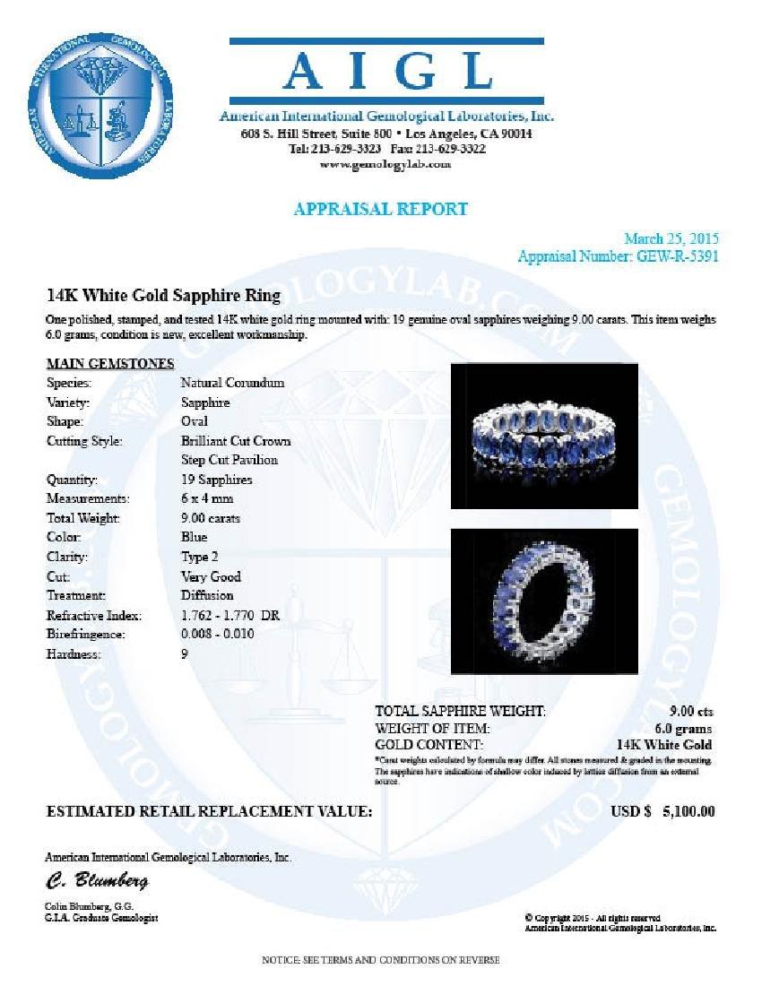 14k White Gold 9.00ct Sapphire Ring - 4