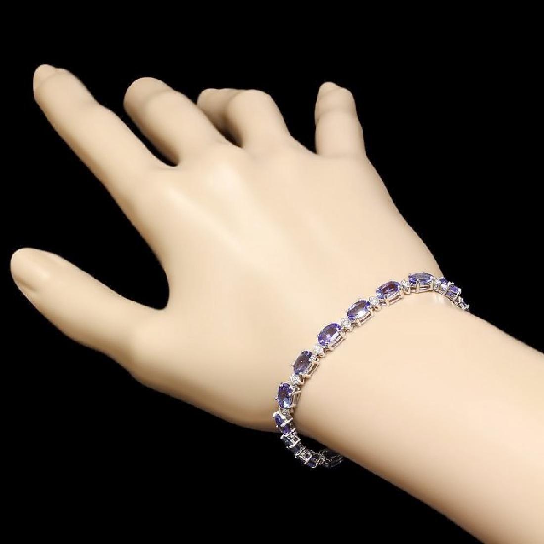 14k Gold 14ct Tanzanite 0.60ct Diamond Bracelet - 5