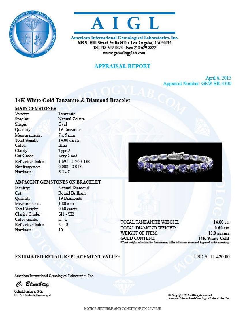 14k Gold 14ct Tanzanite 0.60ct Diamond Bracelet - 7