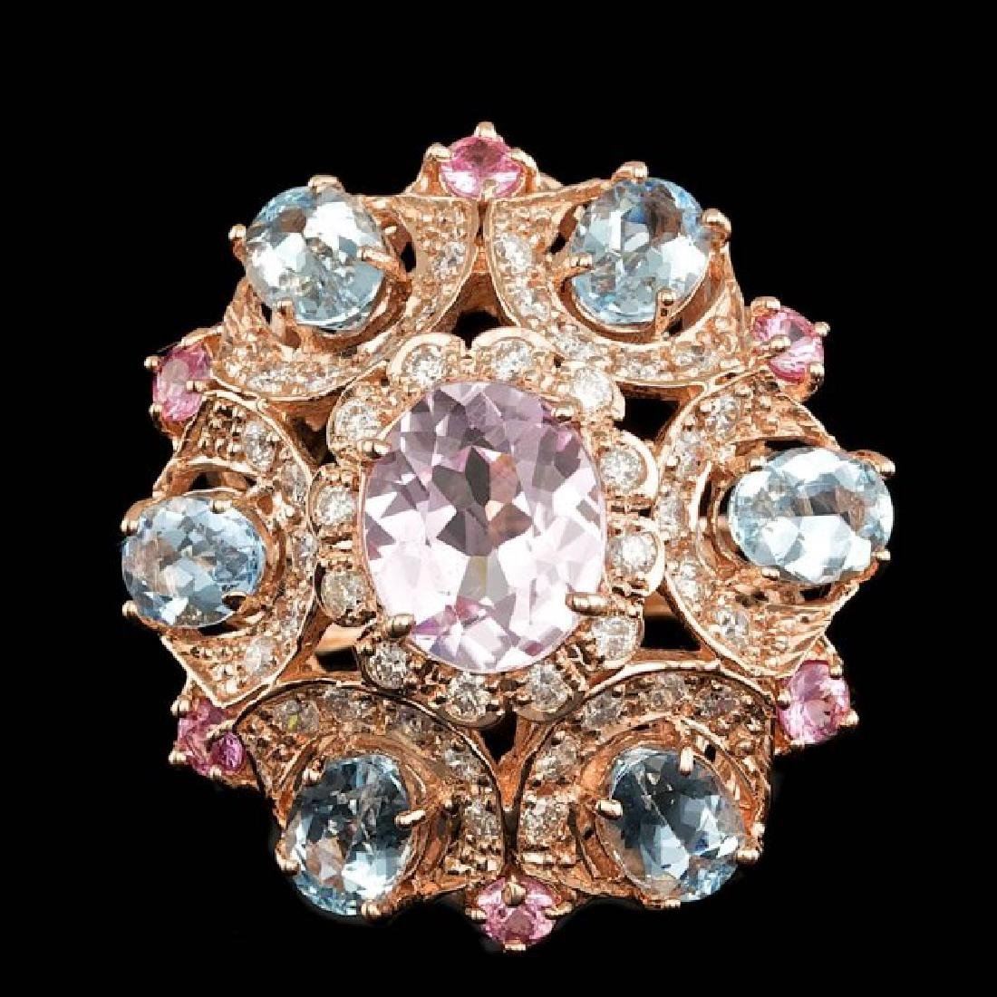 14k Rose Gold 3.50ct Kunzite 1.25ct Diamond Ring