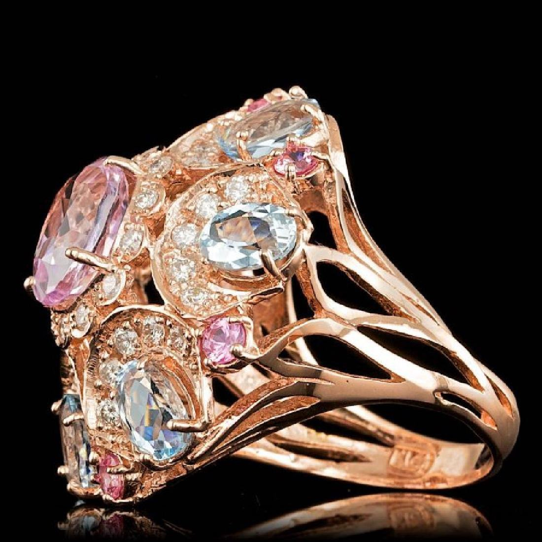 14k Rose Gold 3.50ct Kunzite 1.25ct Diamond Ring - 2