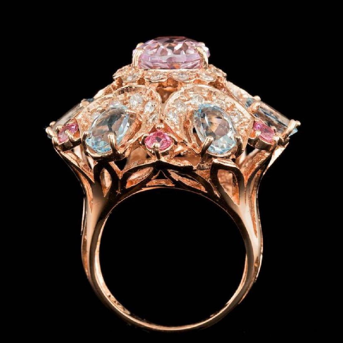 14k Rose Gold 3.50ct Kunzite 1.25ct Diamond Ring - 4
