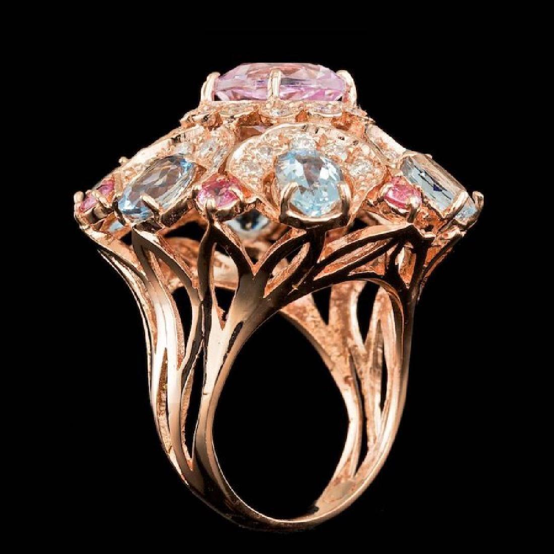 14k Rose Gold 3.50ct Kunzite 1.25ct Diamond Ring - 5
