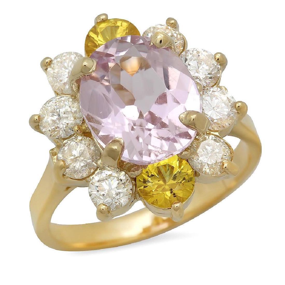 14K Gold 3.61ct Kunzite 0.86ct Sapphire 1.36ct Diamond