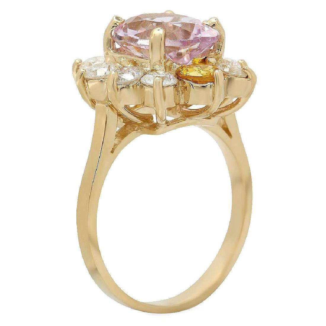 14K Gold 3.61ct Kunzite 0.86ct Sapphire 1.36ct Diamond - 2