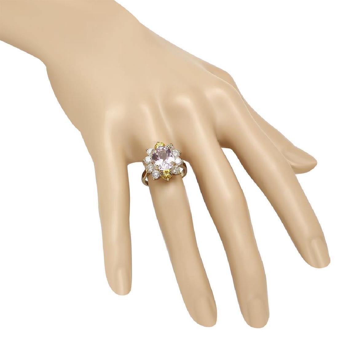 14K Gold 3.61ct Kunzite 0.86ct Sapphire 1.36ct Diamond - 3