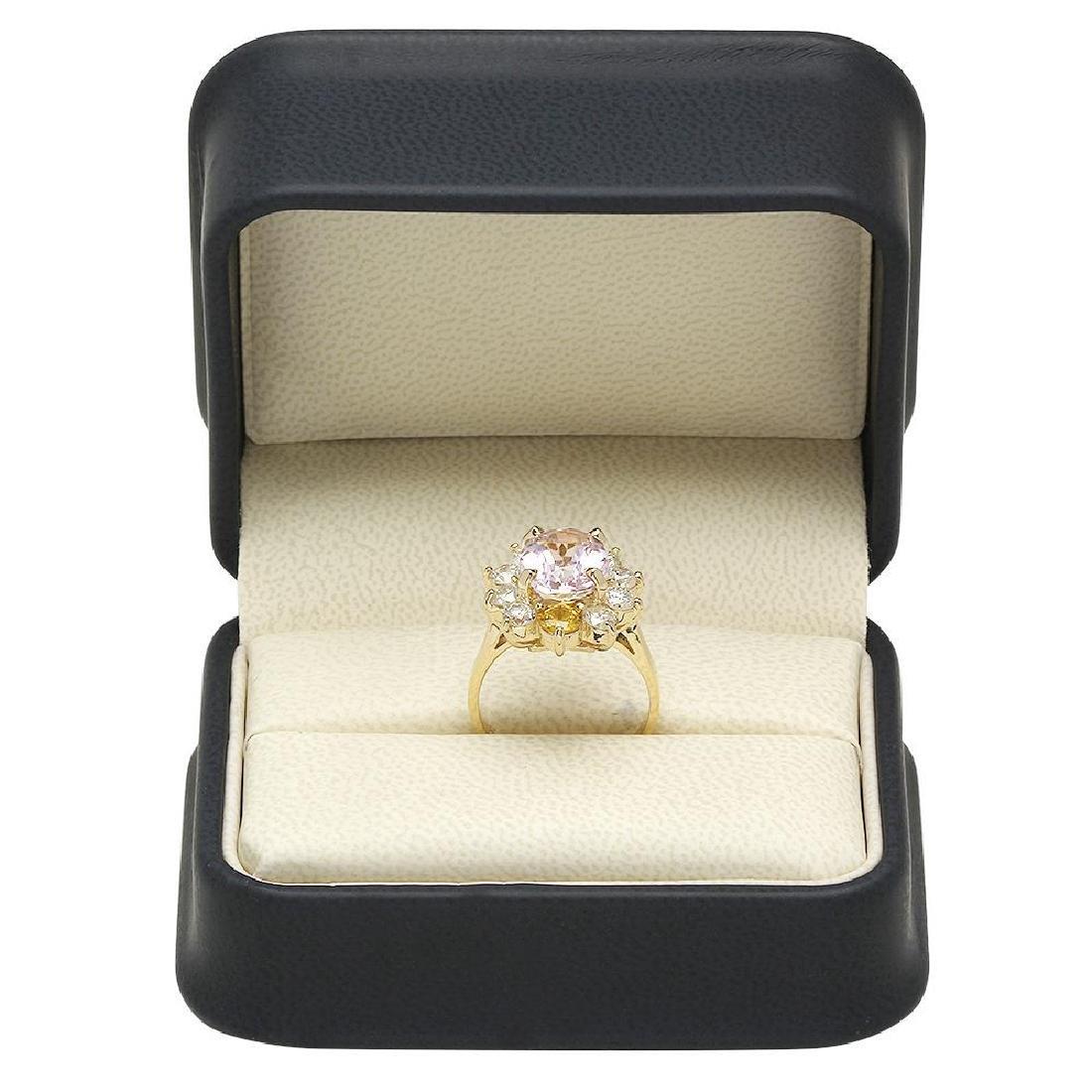 14K Gold 3.61ct Kunzite 0.86ct Sapphire 1.36ct Diamond - 4