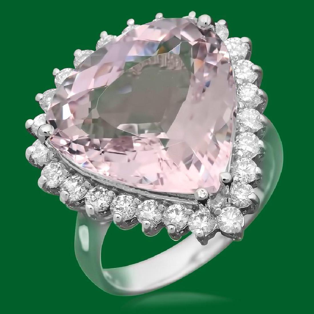 14k Gold 12.84ct Morganite 1.20ct Diamond Ring