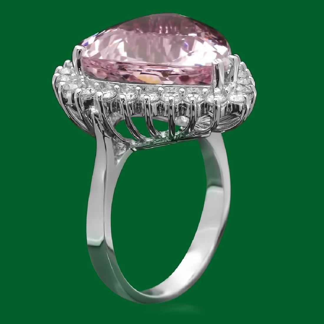 14k Gold 12.84ct Morganite 1.20ct Diamond Ring - 2