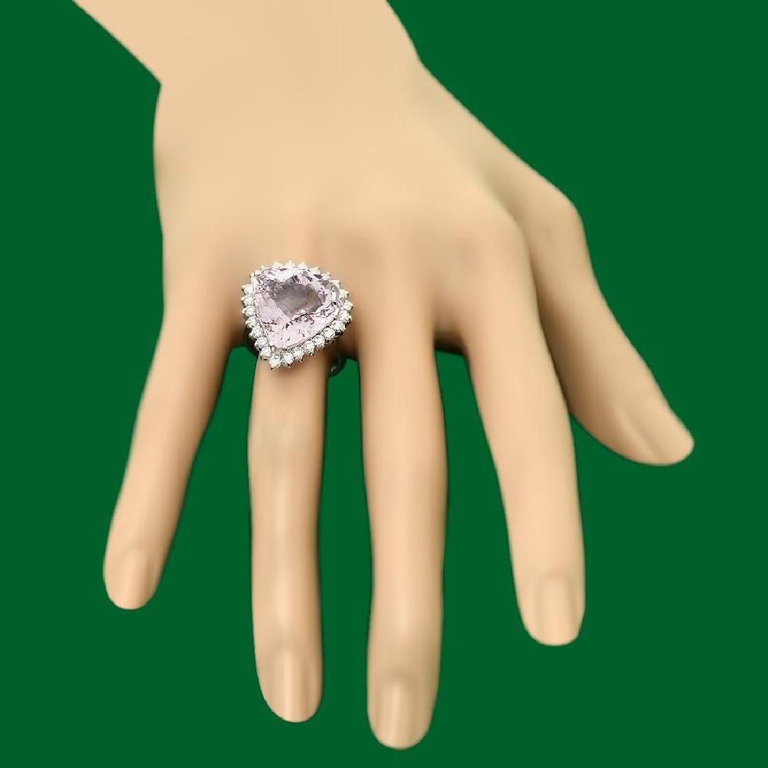 14k Gold 12.84ct Morganite 1.20ct Diamond Ring - 3