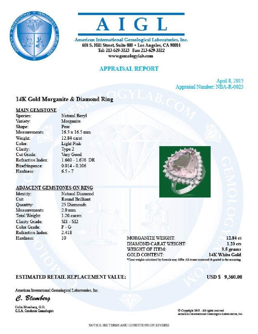 14k Gold 12.84ct Morganite 1.20ct Diamond Ring - 4