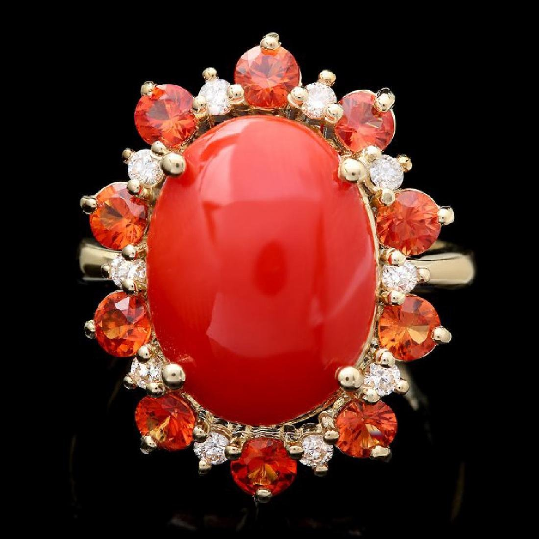 14k Yellow Gold 5.00ct Coral 0.35ct Diamond Ring
