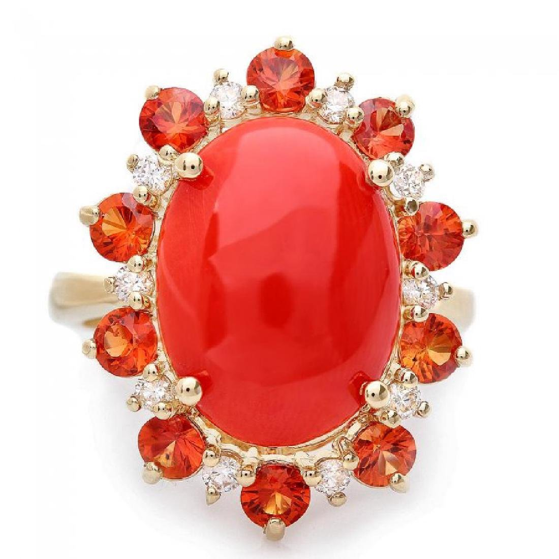 14k Yellow Gold 5.00ct Coral 0.35ct Diamond Ring - 2