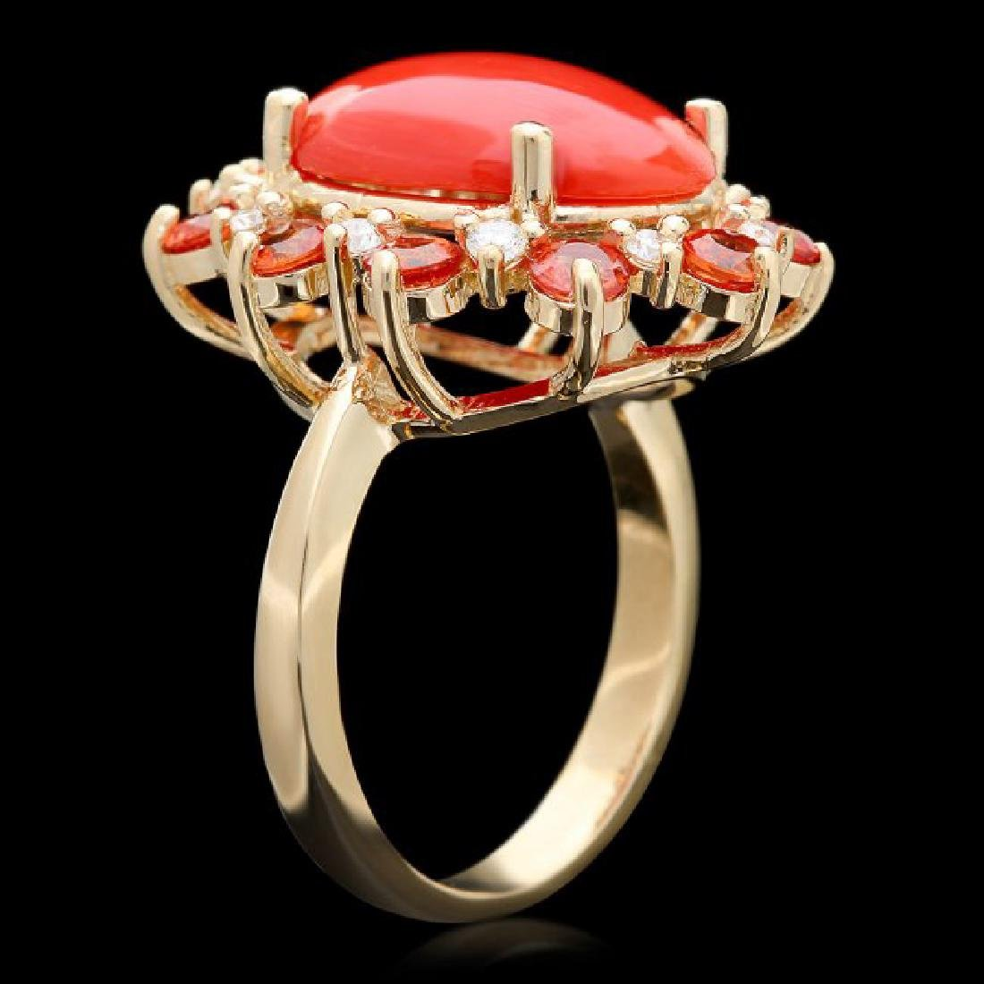 14k Yellow Gold 5.00ct Coral 0.35ct Diamond Ring - 3