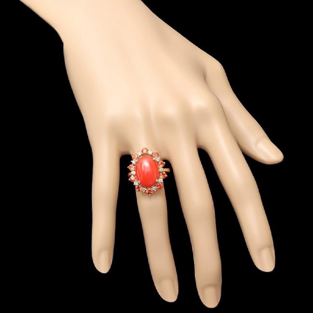 14k Yellow Gold 5.00ct Coral 0.35ct Diamond Ring - 4