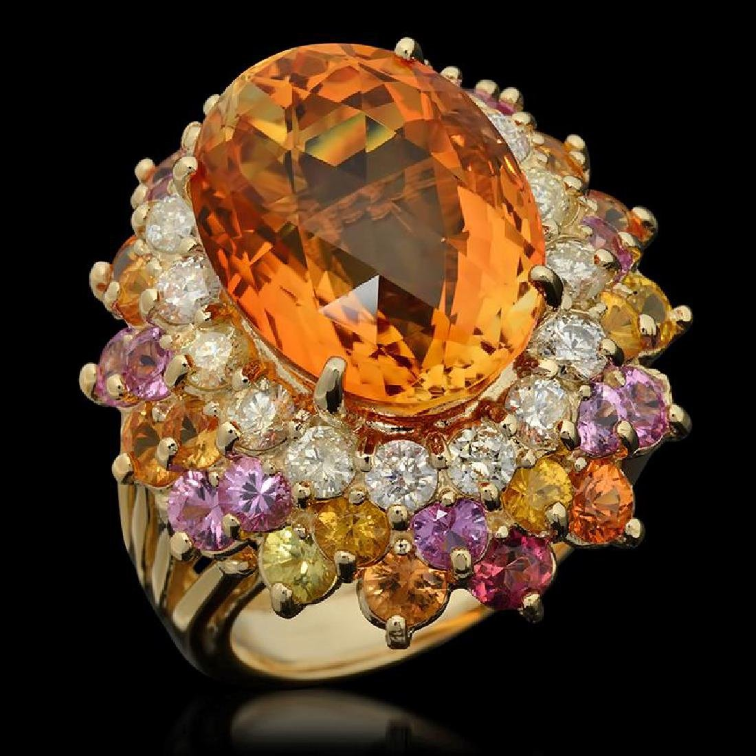 14K Gold 12.85ct Citrine, 4.32ct Fancy Color Sapphire &