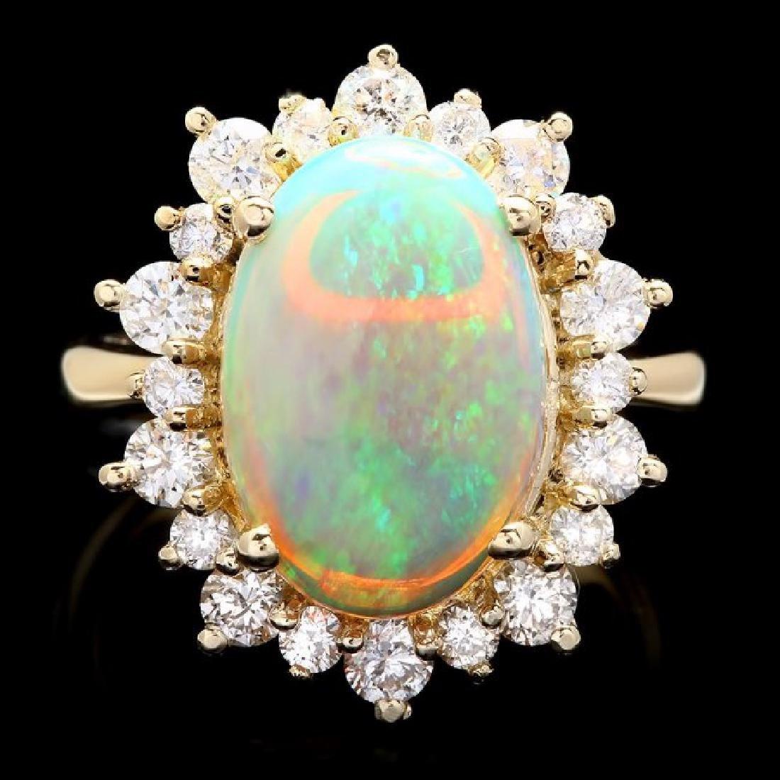14k Yellow Gold 3.00ct Opal 1.30ct Diamond Ring