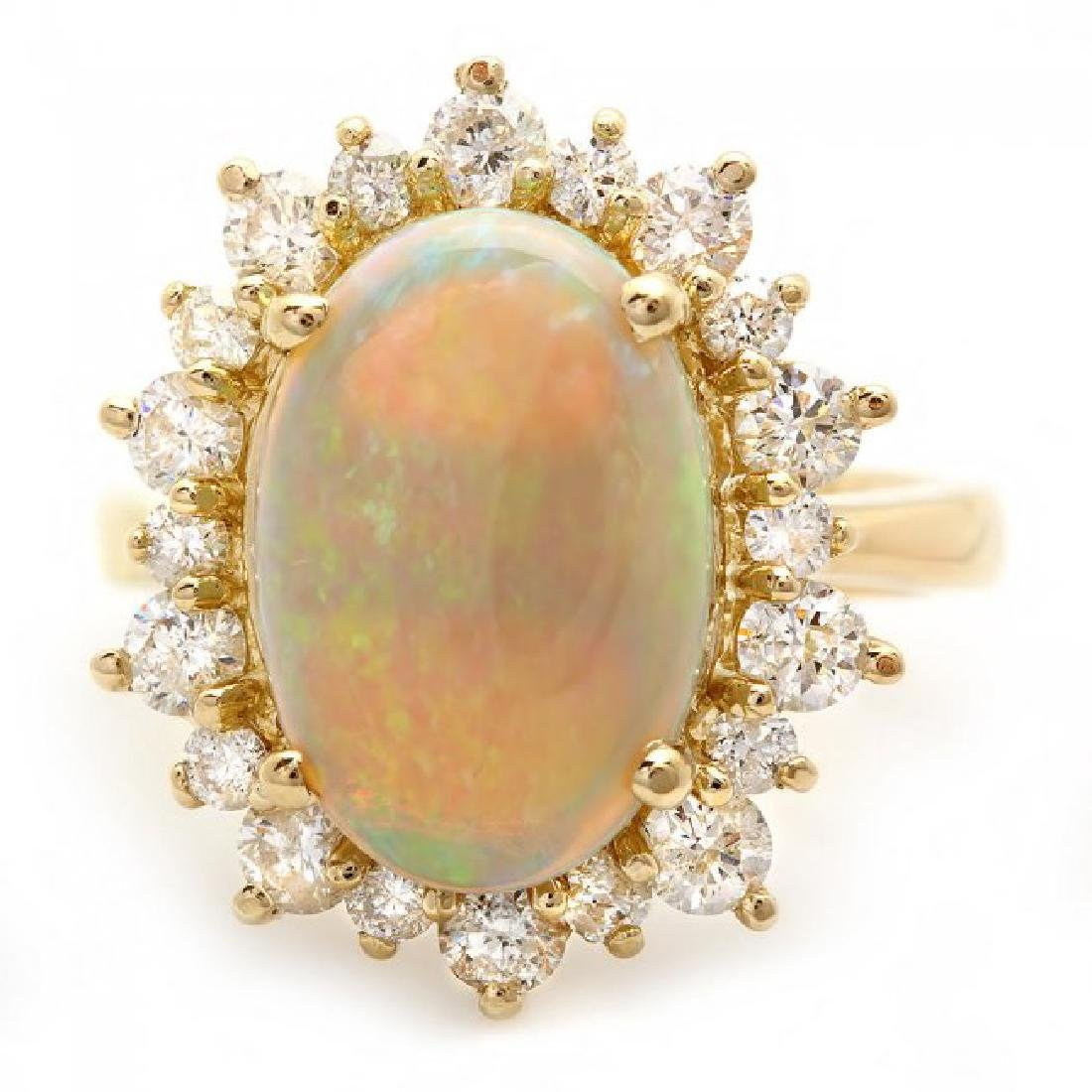 14k Yellow Gold 3.00ct Opal 1.30ct Diamond Ring - 2