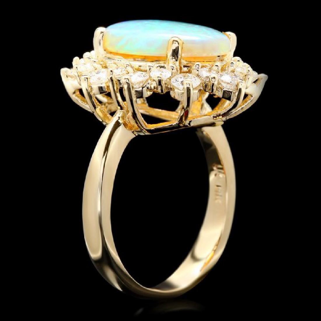 14k Yellow Gold 3.00ct Opal 1.30ct Diamond Ring - 3