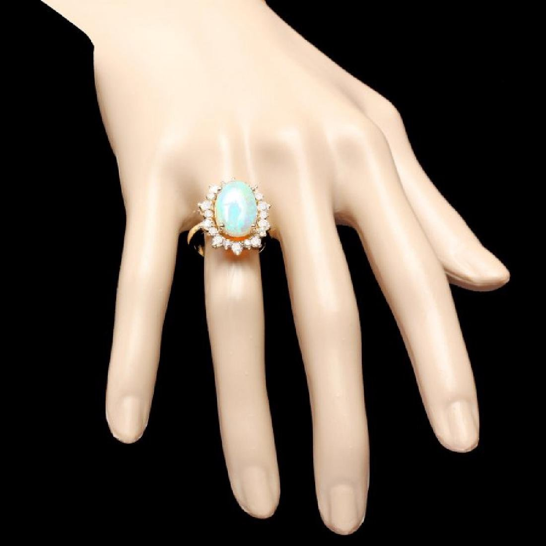 14k Yellow Gold 3.00ct Opal 1.30ct Diamond Ring - 4