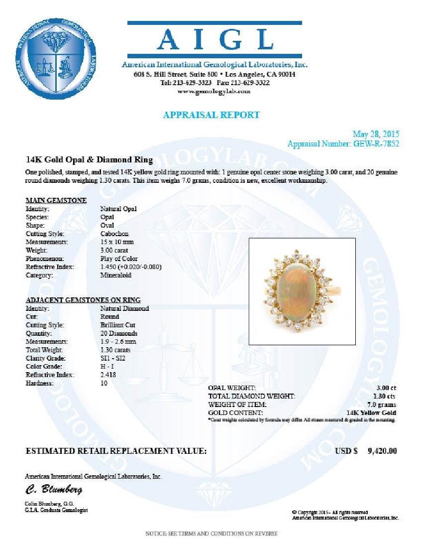 14k Yellow Gold 3.00ct Opal 1.30ct Diamond Ring - 5