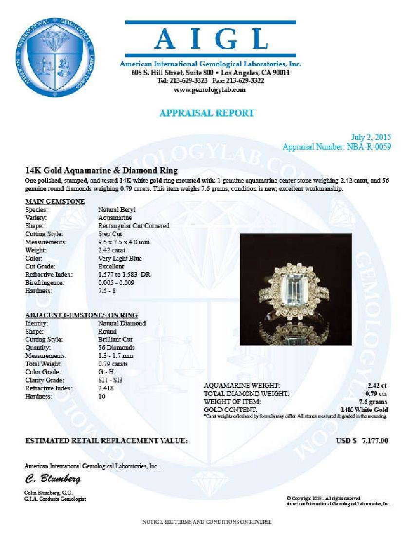 14K Gold 2.42ct Aquamarine 0.79ct Diamond Ring - 4