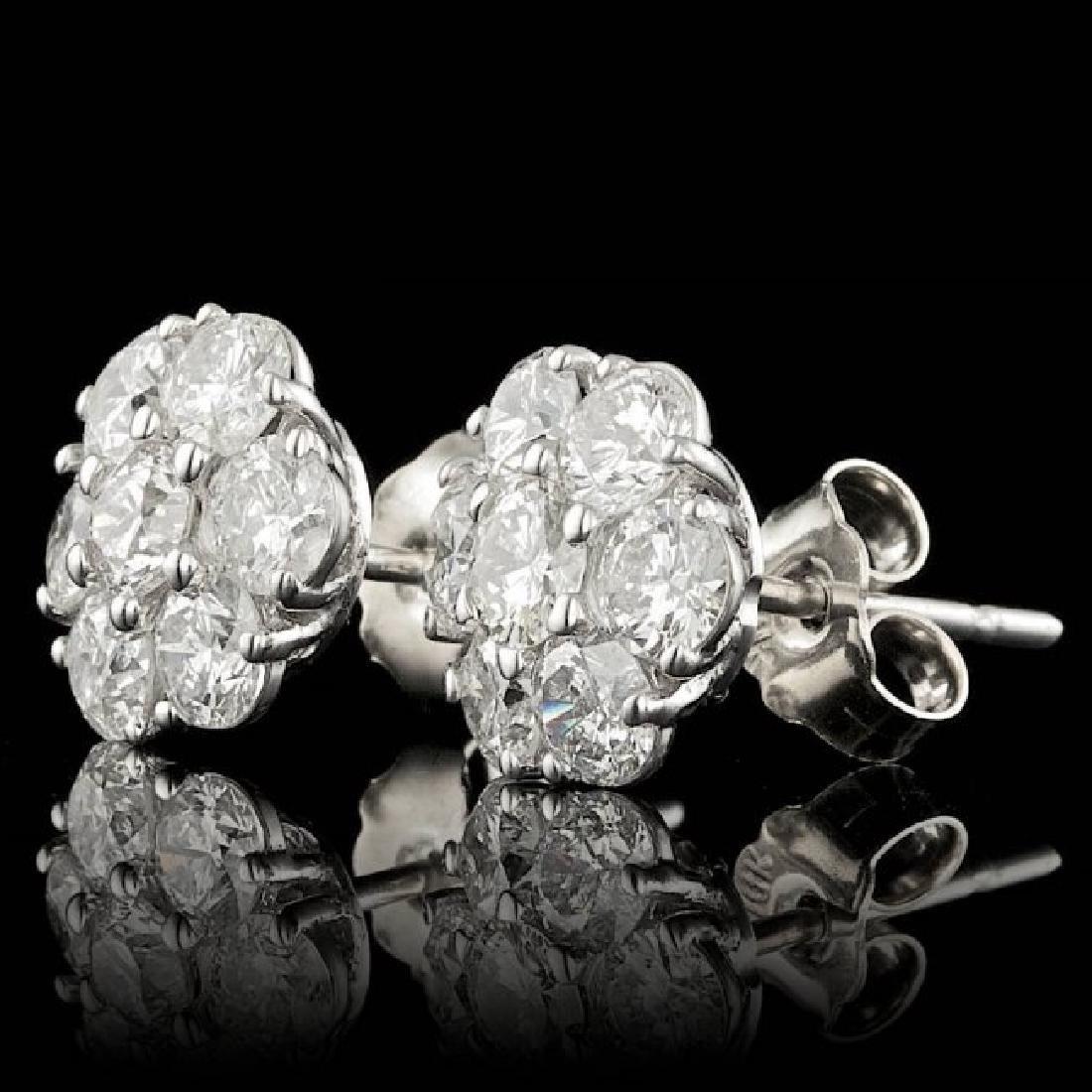 14k White Gold 2.35ct Diamond Earrings - 2