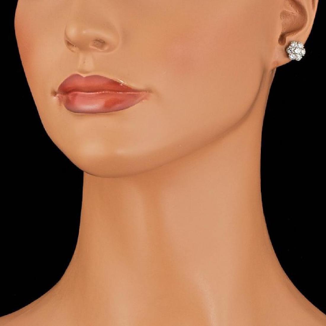 14k White Gold 2.35ct Diamond Earrings - 3