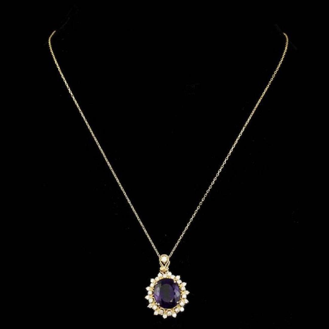 14k Gold 8.00ct Amethyst 0.90ct Diamond Pendant - 2