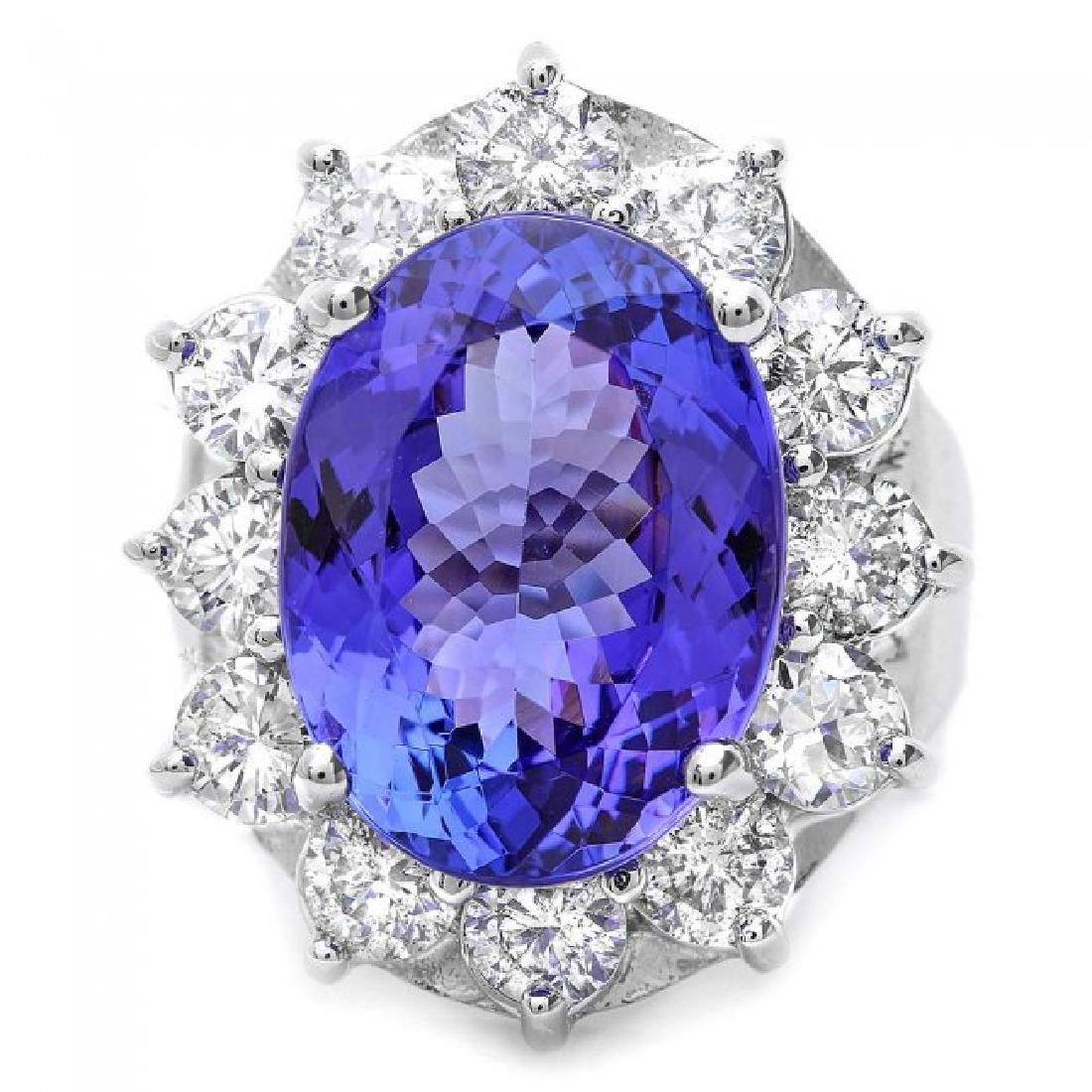 14k Gold 10.00ct Tanzanite 2.50ct Diamond Ring - 2