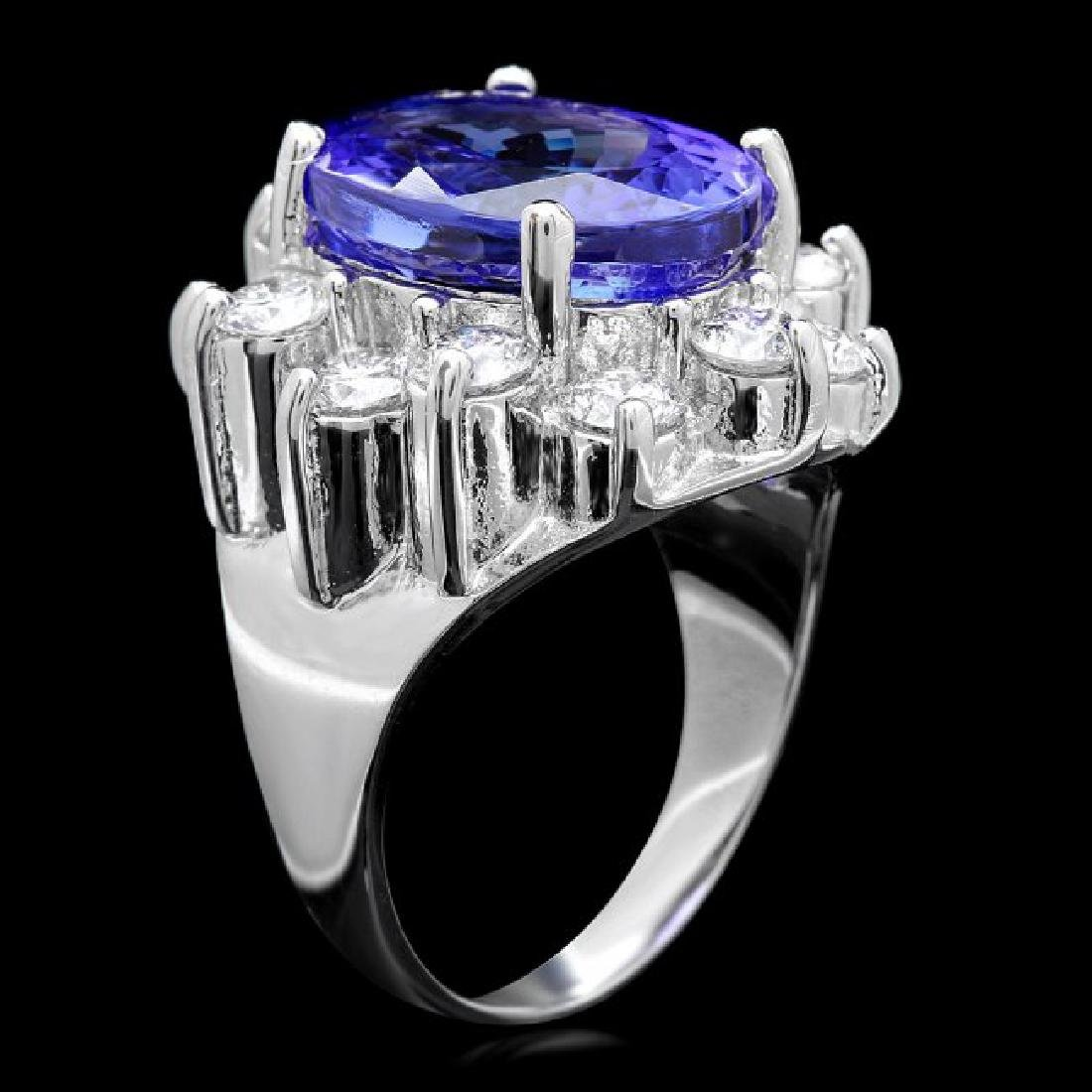 14k Gold 10.00ct Tanzanite 2.50ct Diamond Ring - 3