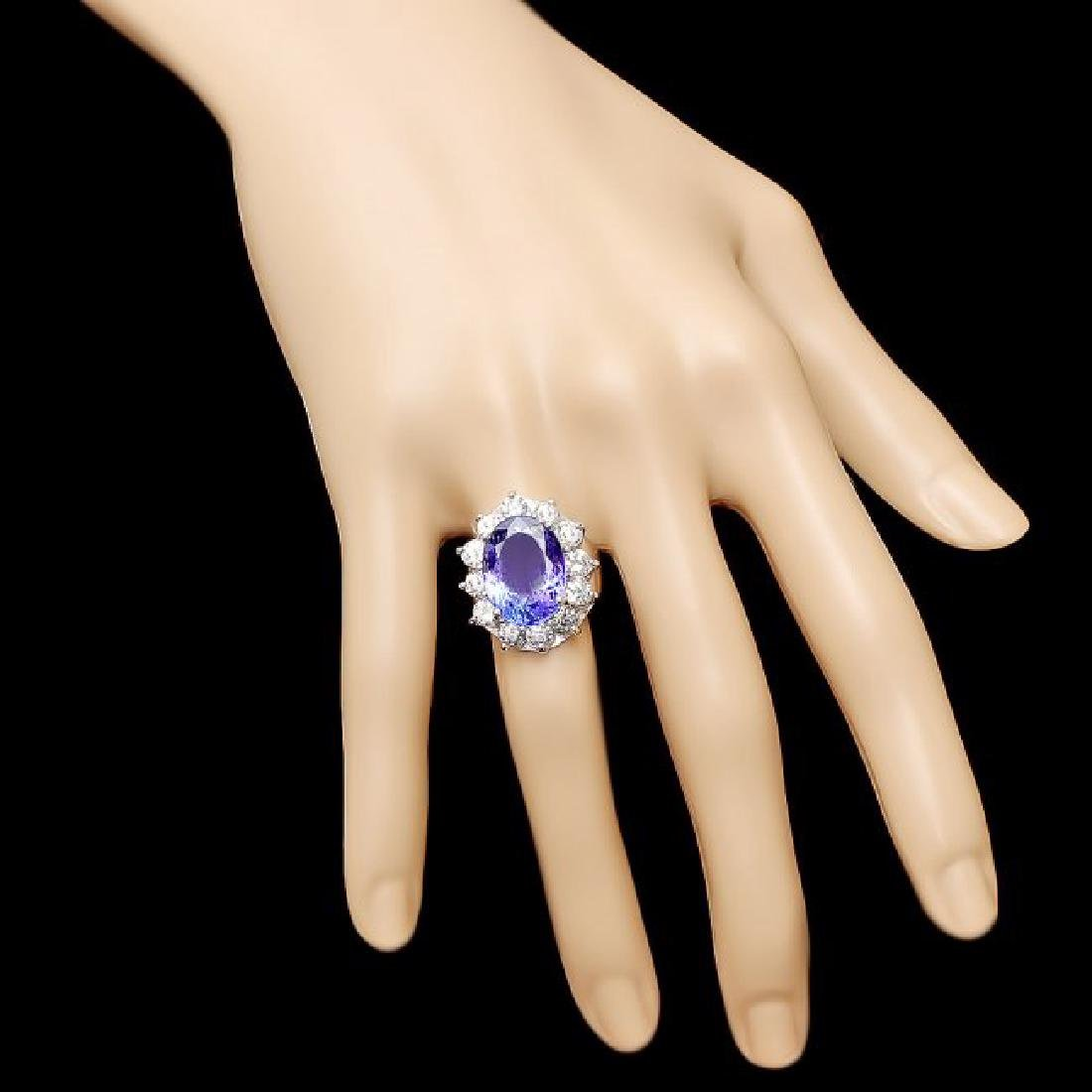 14k Gold 10.00ct Tanzanite 2.50ct Diamond Ring - 4
