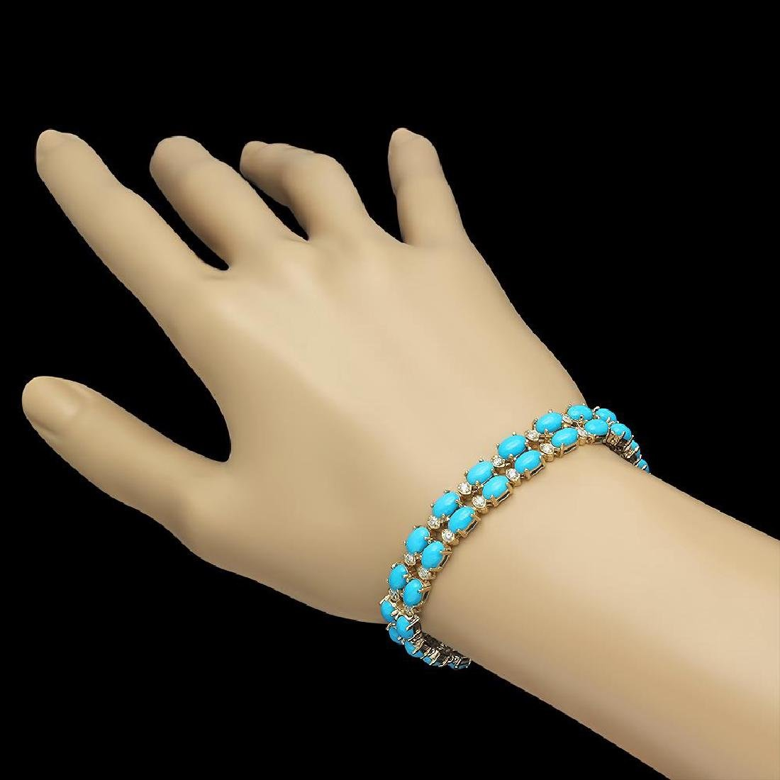 14K Gold 16.43ct Turqoise 1.20ct Diamond Bracelet - 2
