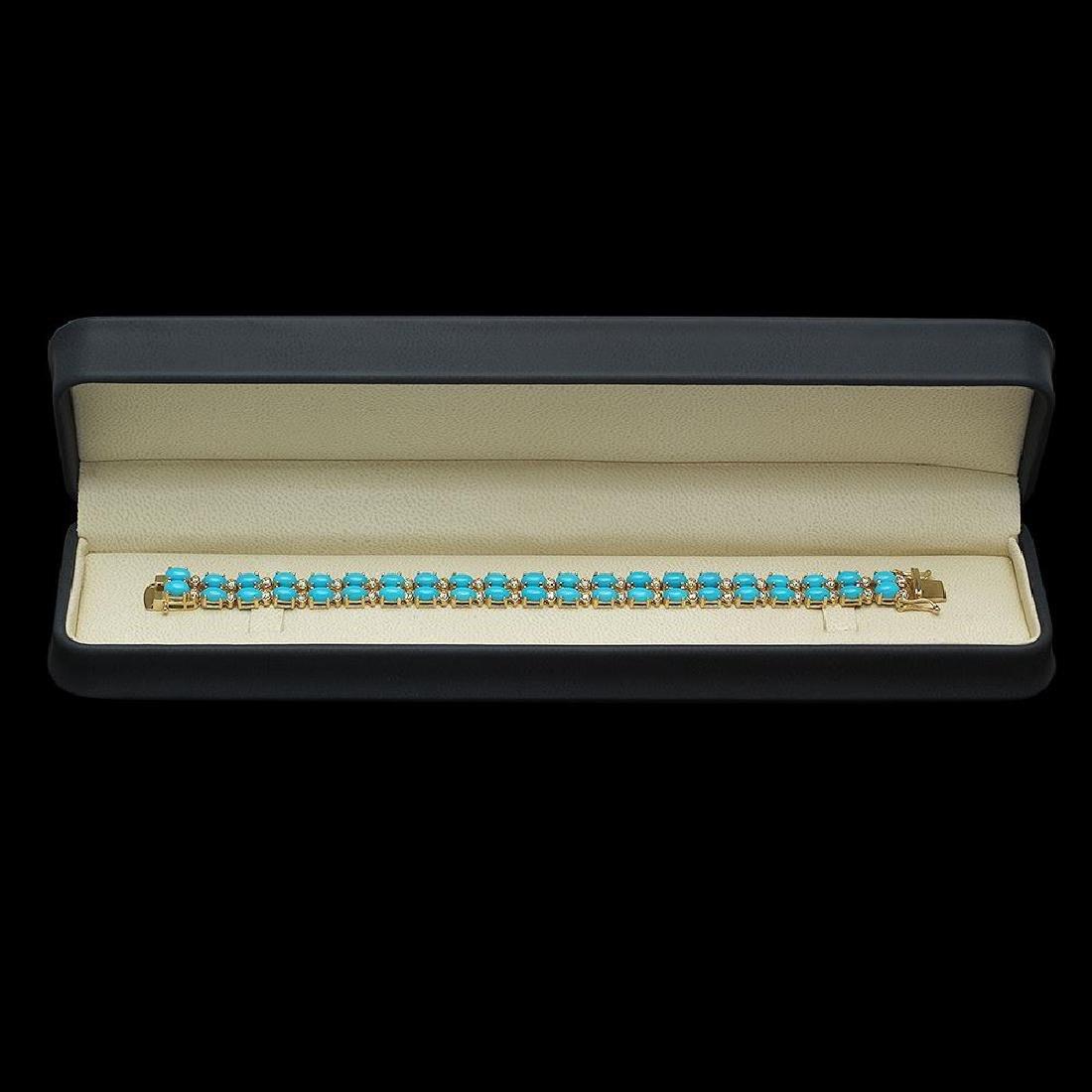 14K Gold 16.43ct Turqoise 1.20ct Diamond Bracelet - 3