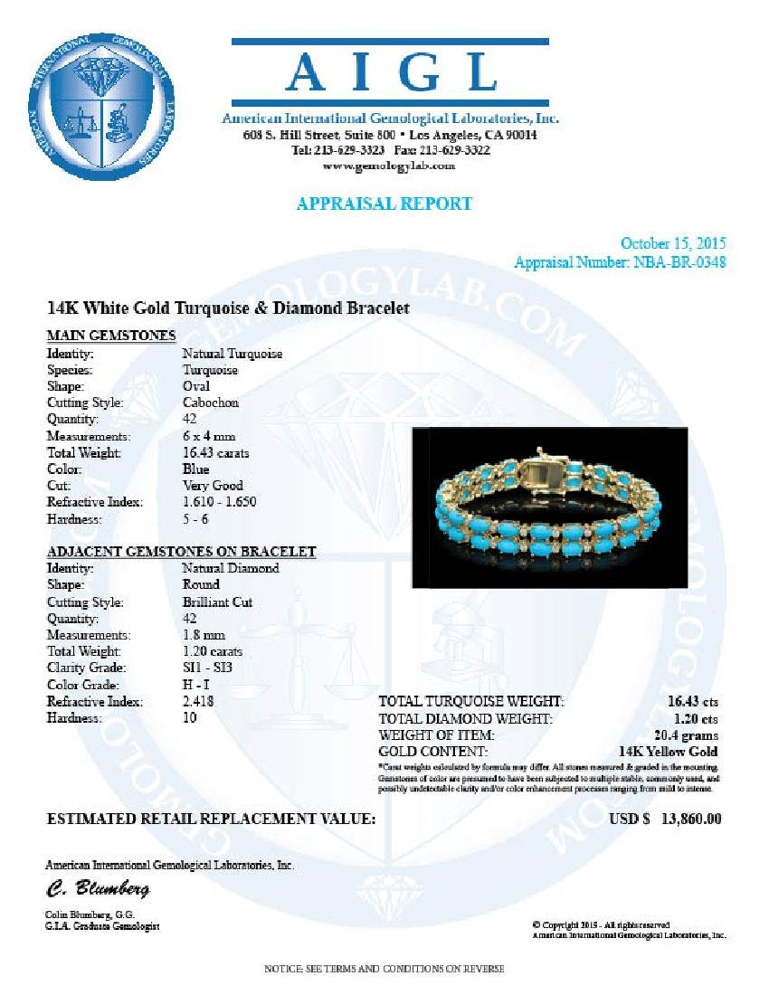 14K Gold 16.43ct Turqoise 1.20ct Diamond Bracelet - 4