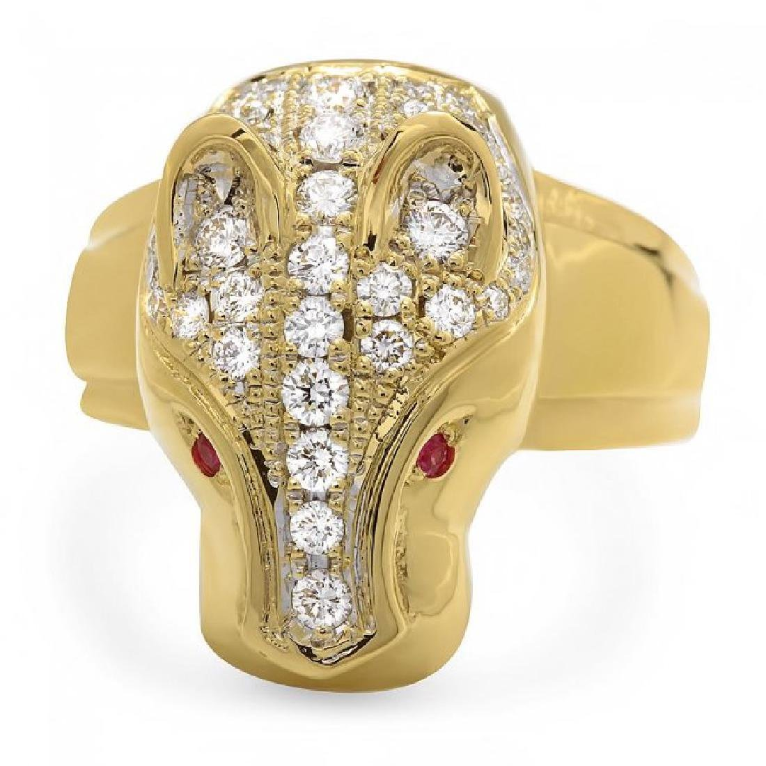 18k Gold 1.00ct Diamond 0.05ct Ruby Mens Ring - 2