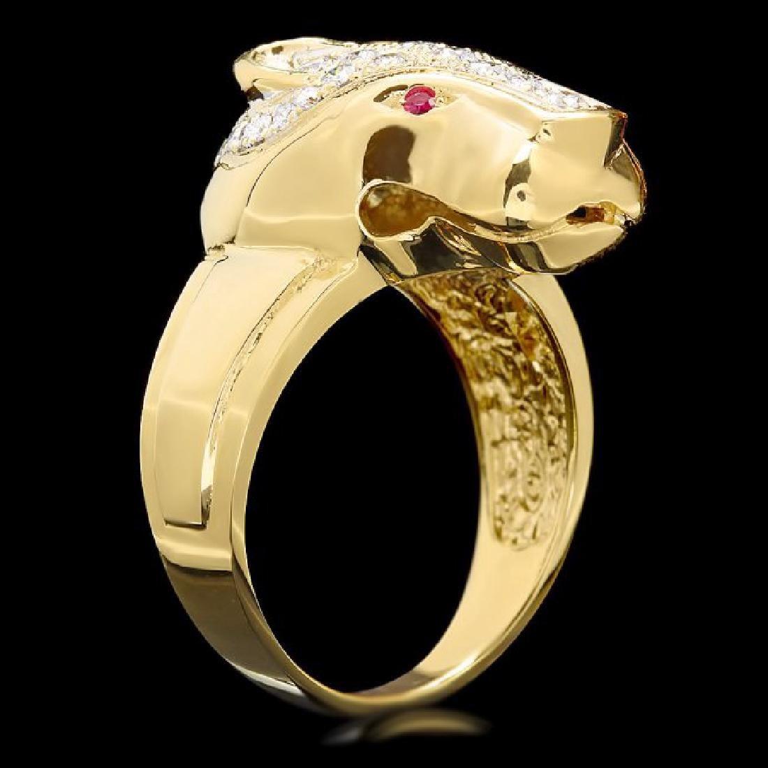 18k Gold 1.00ct Diamond 0.05ct Ruby Mens Ring - 3