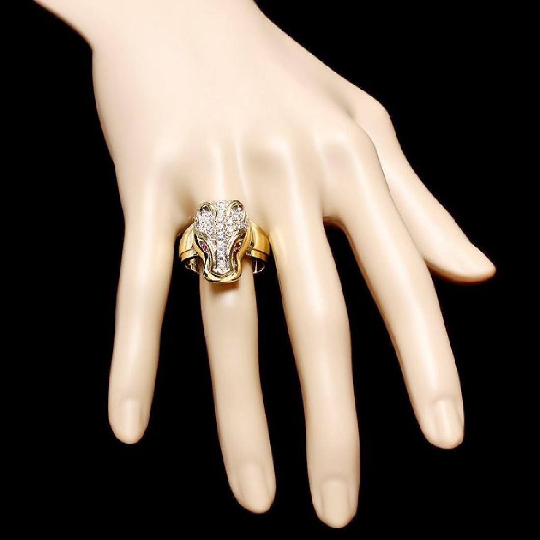 18k Gold 1.00ct Diamond 0.05ct Ruby Mens Ring - 4
