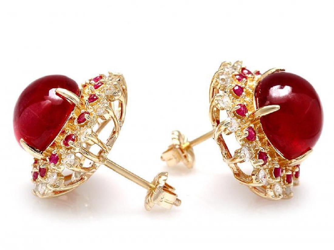 14k Gold 17.65ct Ruby 0.80ct Diamond Earrings - 2
